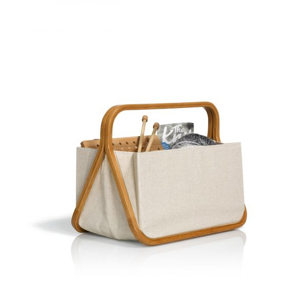 """Fold & Store Basket """"Canvas & Bamboo"""" in Natur"""