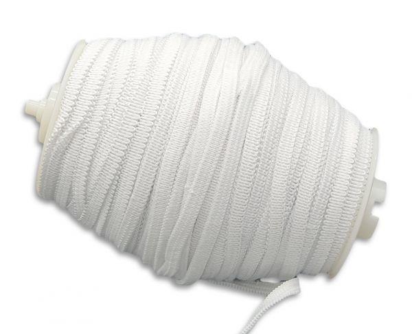 Gummiband 5mm, weiß, flach und kochfest - 50m Rolle