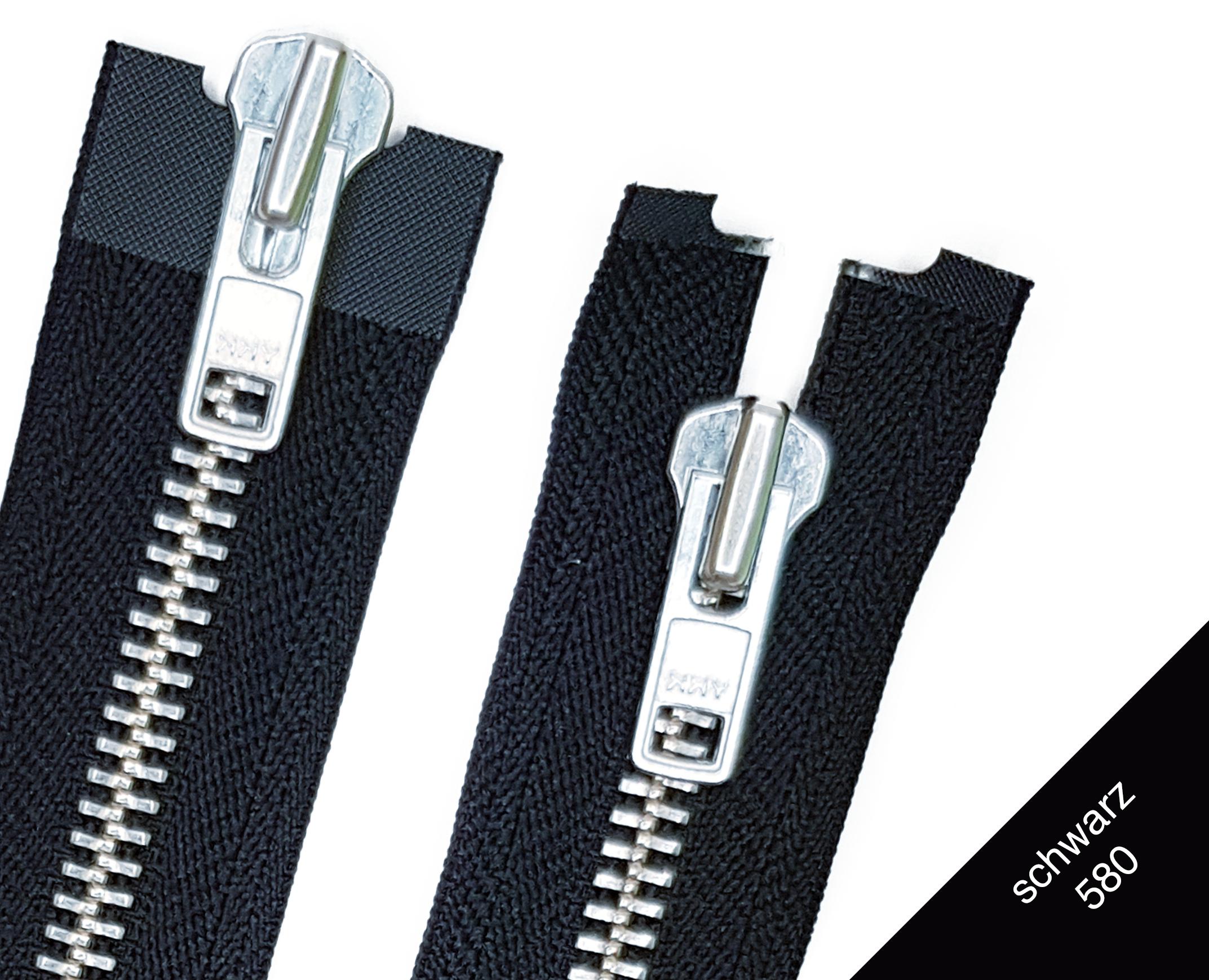 YKK Reißverschluss 2 Wege teilbar 5mm weiß 50 cm Metall silberne Zähne